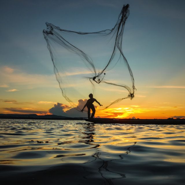 """Fisherman throwing net at sunset"" stock image"