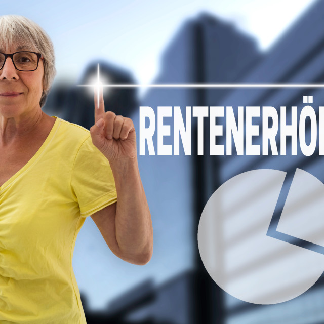 """pension increase in german rentenerhoehung touchscreen is shown by senior"" stock image"