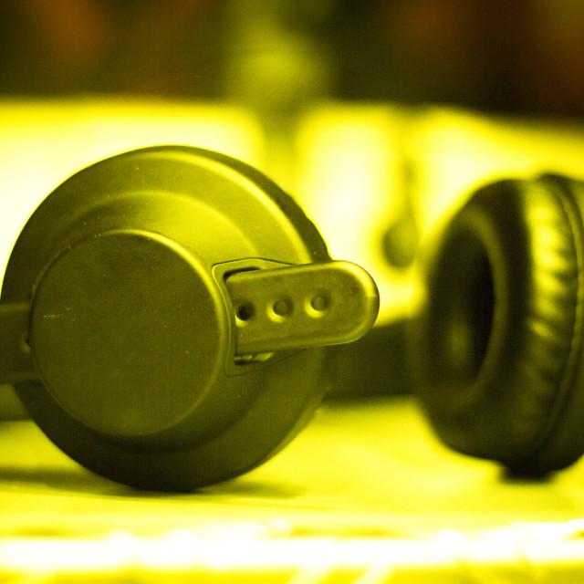"""""""Sound recording studio headphones"""" stock image"""
