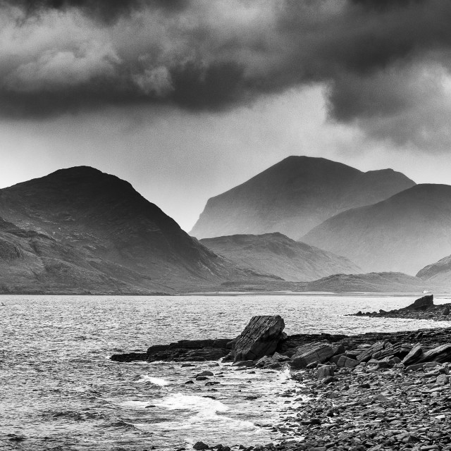"""Loch Scavaig at Elgol BW"" stock image"
