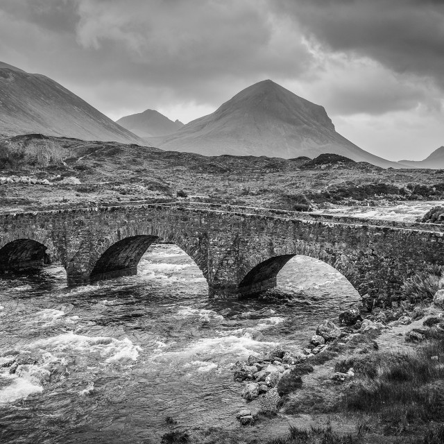 """Sligachan bridge BW"" stock image"