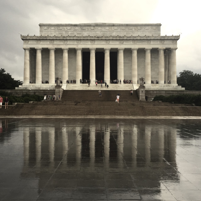"""Lincoln Memorial in the rain"" stock image"