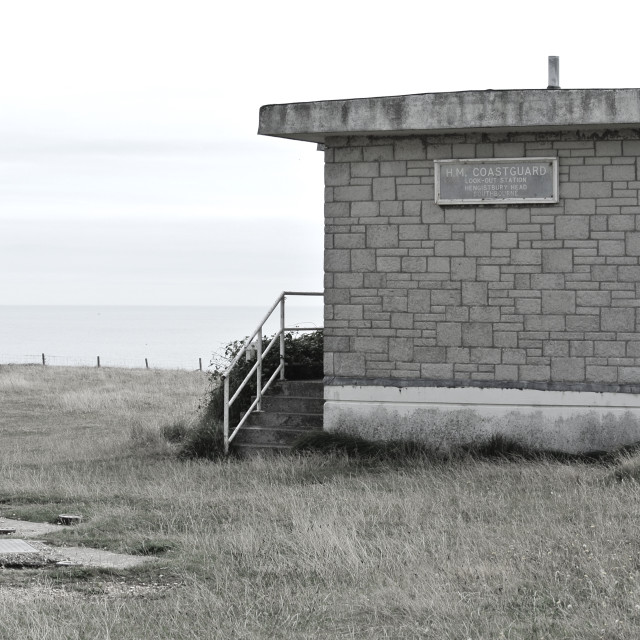 """Coastguard Hut on a cliff"" stock image"