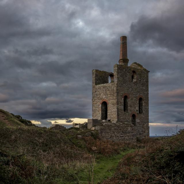"""Cornish Tin Mine at Sunset"" stock image"