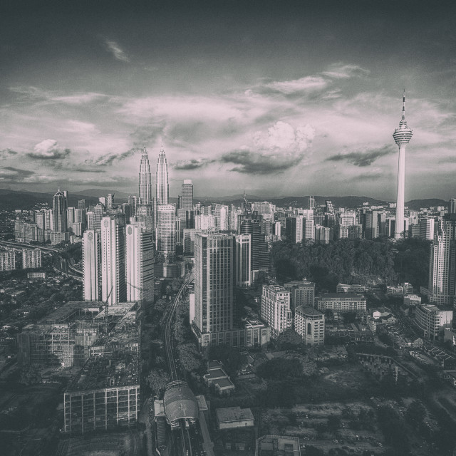 """Kuala Lumpur Skyline in Grainy Black and White"" stock image"
