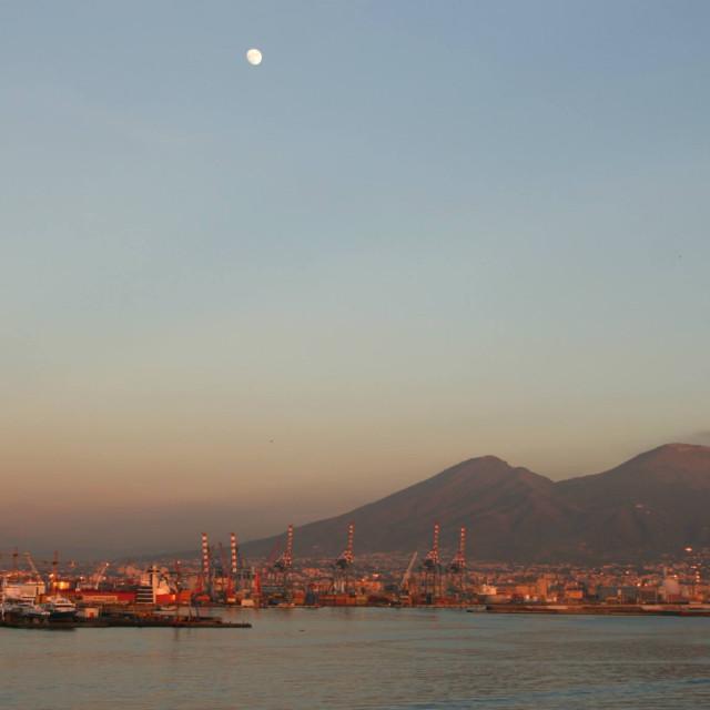 """Dusk over Mount Vesuvius, Naples, Itlay"" stock image"
