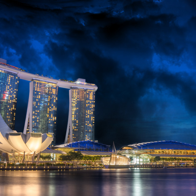 """""""Marina Bay Sands at night during Light and Water Show"""" stock image"""
