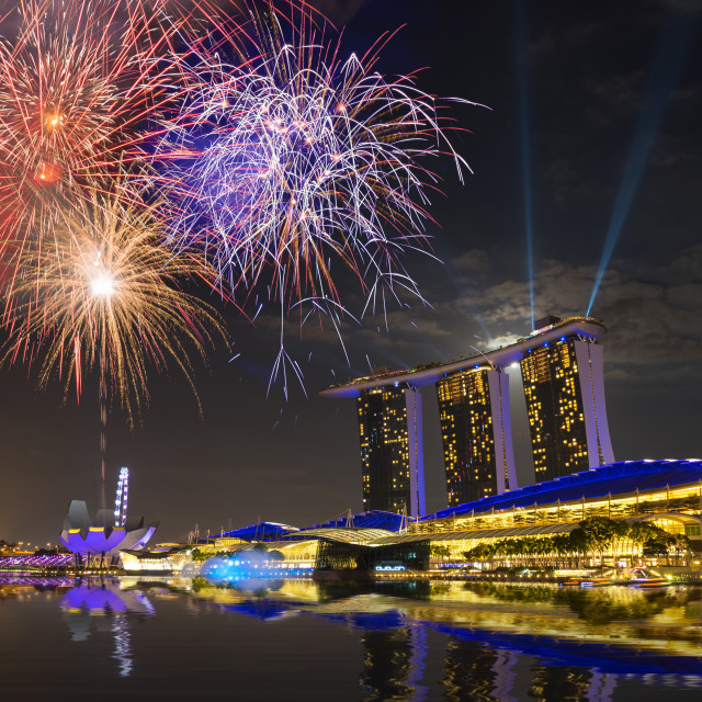 """Marina Bay Sands at night during Light and Water Show 'Wonder Full' . It..."" stock image"