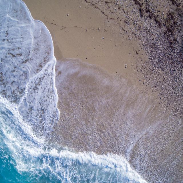 """Aerial of Kathisma beach in Lefkada island Greece"" stock image"