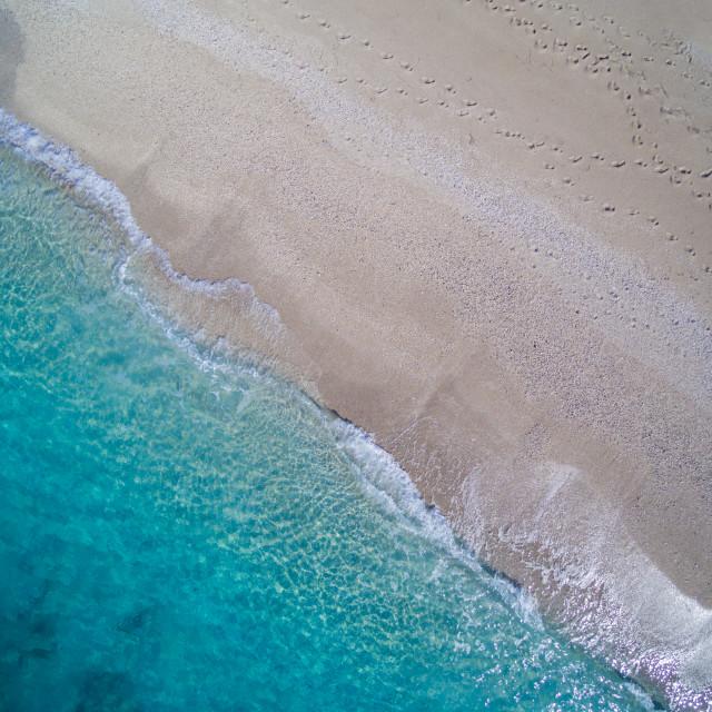 """Aerial of the amazing Kathisma beach in Lefkada island"" stock image"