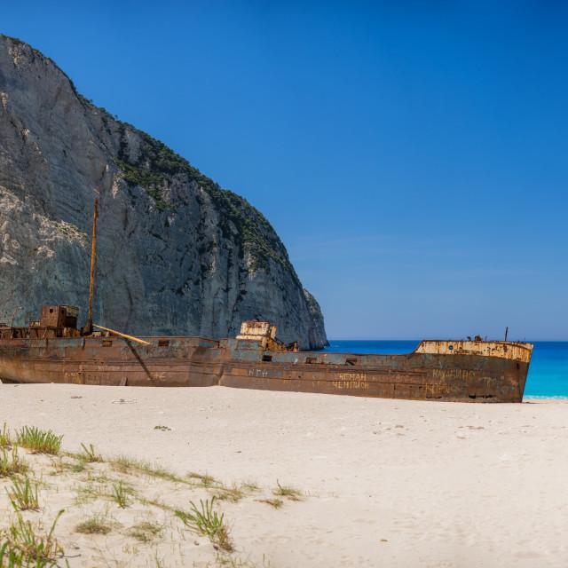 """Famous shipwreck on Navagio Beach, Zakynthos"" stock image"