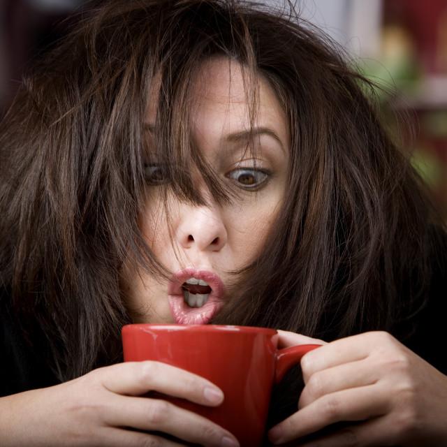 """Coffee-Crazed Woman"" stock image"