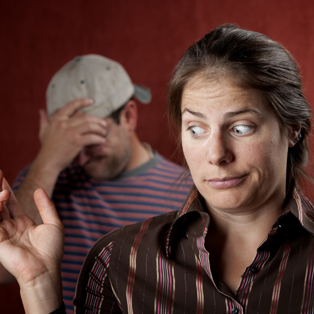 """""""Upset man and guilty woman"""" stock image"""