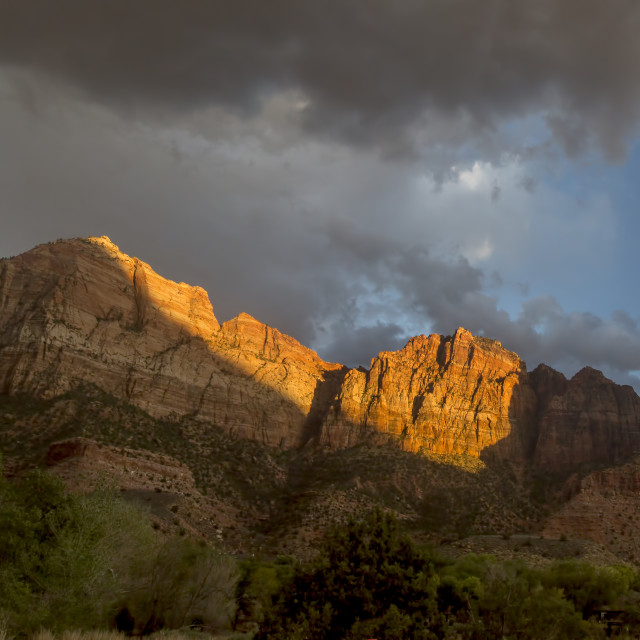 """Zion Watchman Sunset"" stock image"