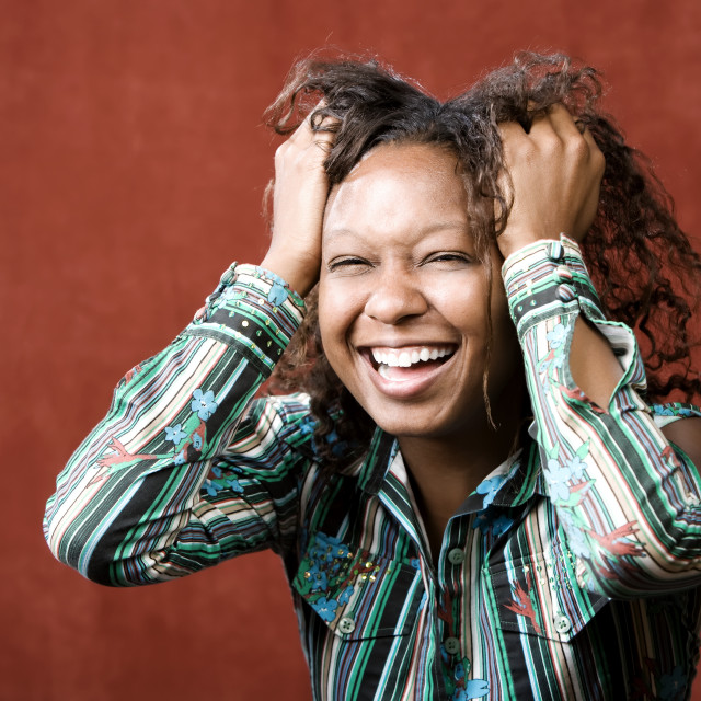 """""""Laughing African-American Woman"""" stock image"""