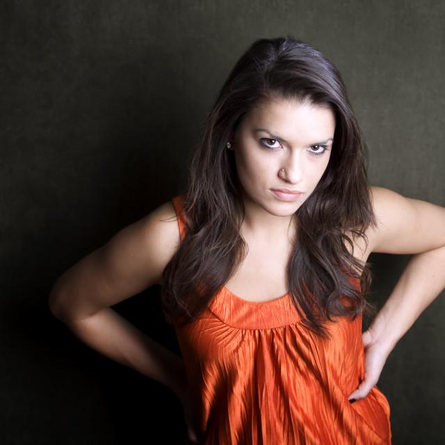 """Frustrated Hispanic Woman"" stock image"