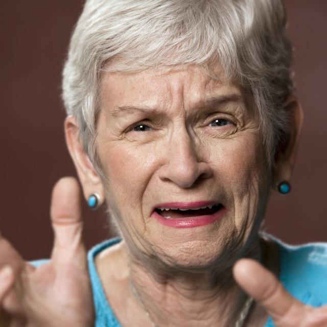 """Upset Senior Woman"" stock image"