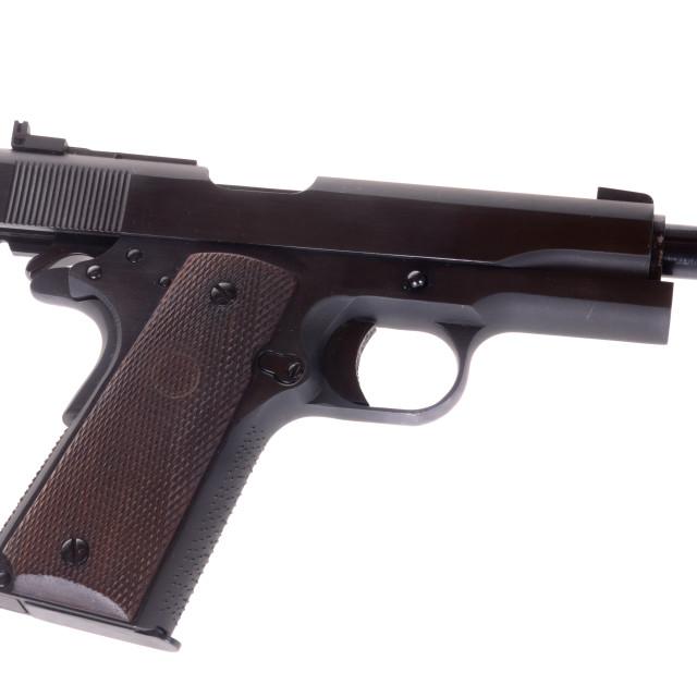 """Vintage 1911 semi automatic pistol"" stock image"