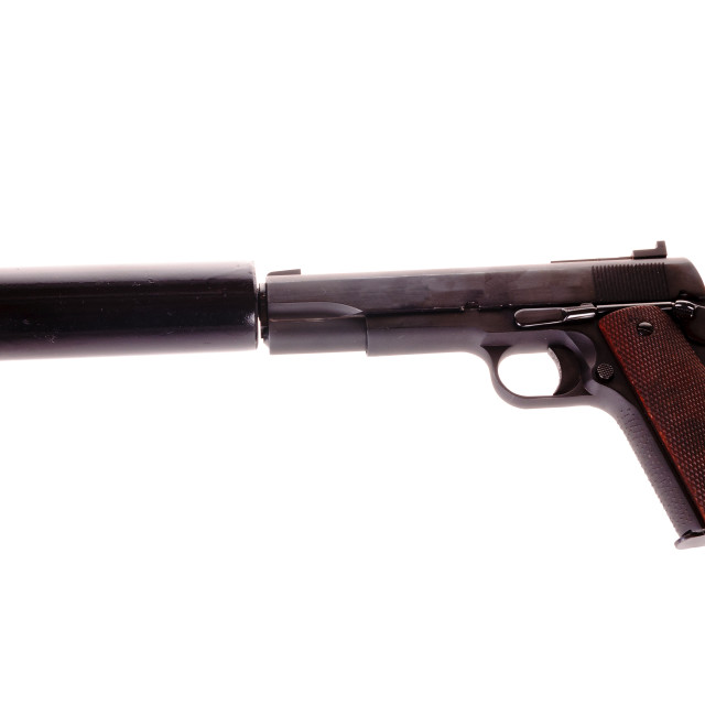 """""""1911 with a silencer attached, the weapon of choice of the 1920 mobster or assasin"""" stock image"""