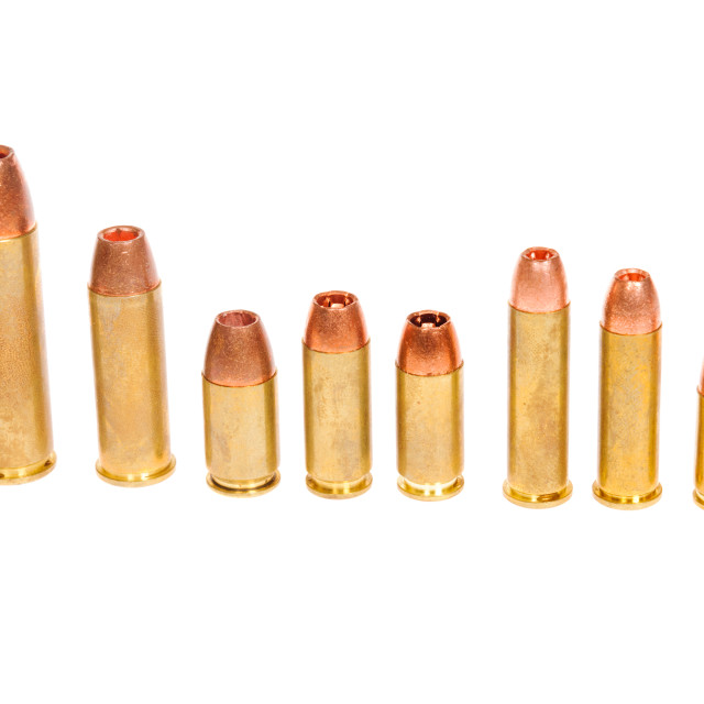 """""""Different types of pistol cartridges"""" stock image"""