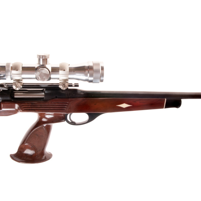 """bolt action pistol in .223 caliber"" stock image"