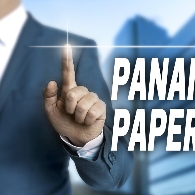 """""""Panama papers touchscreen is operated by businessman"""" stock image"""