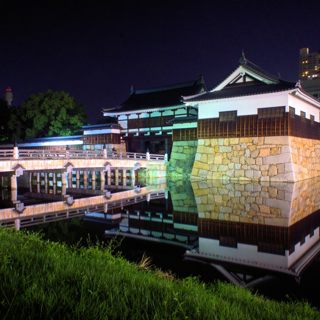 """Hiroshima castle bridge at night"" stock image"