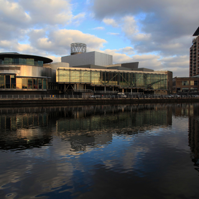 """The Lowry Centre Reflection"" stock image"