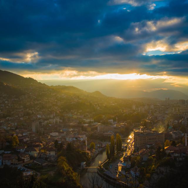 """""""Sarajevo on sunset"""" stock image"""