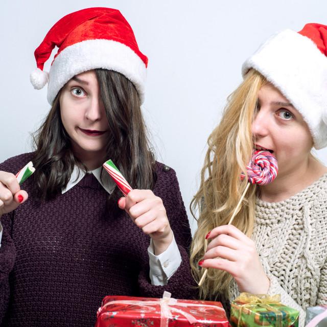 """two rascals on Christmas"" stock image"