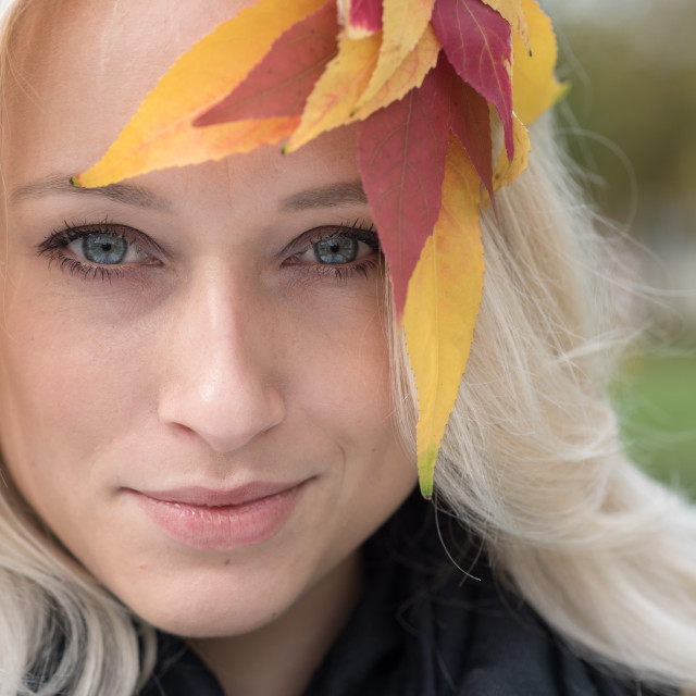 """""""portrait of blond girl with leafs in hair"""" stock image"""
