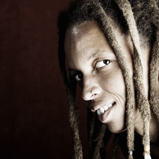 """""""African American Woman with Dreadlocks"""" stock image"""