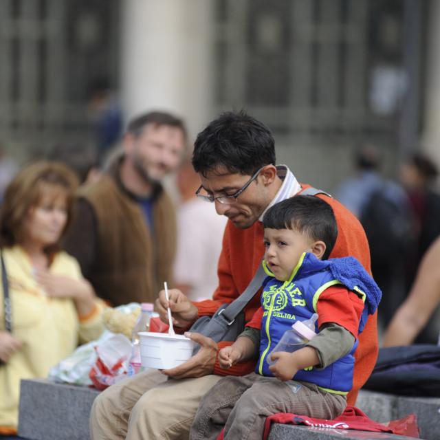 """Refugees at Keleti station in Budapest"" stock image"