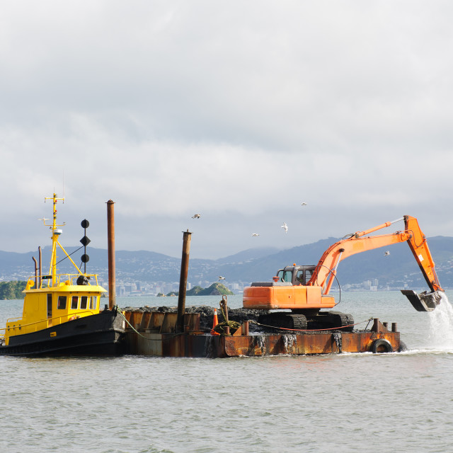 """Dredging the Harbor/Marina"" stock image"
