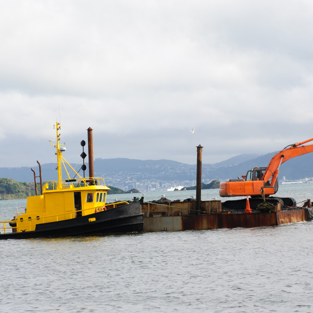 """Dredging the Harbor/Marina area in Petone"" stock image"