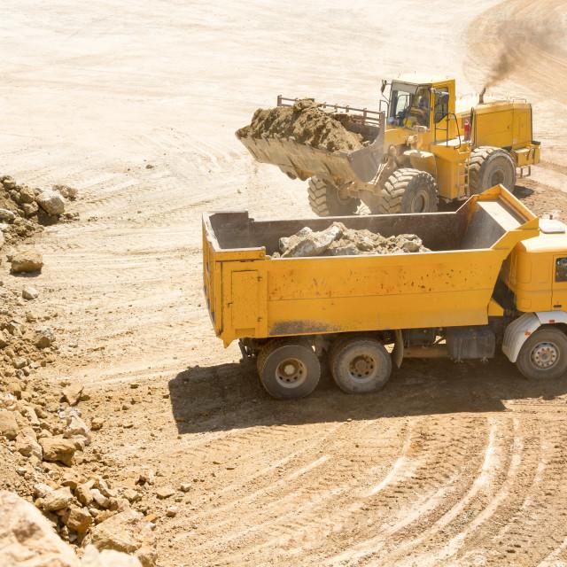 """Yellow Construction bulldozer at Work"" stock image"