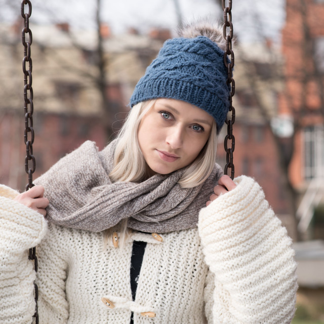 """""""cute blond girl with winter clothes"""" stock image"""