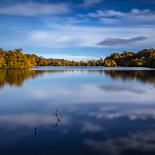 """Bolam Lake Tranquil Autumn Blue"" stock image"