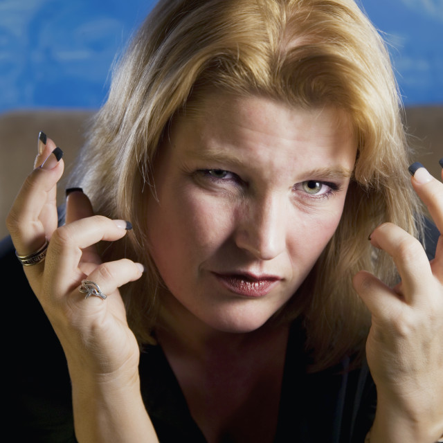 """""""Frustrated Blonde Woman"""" stock image"""