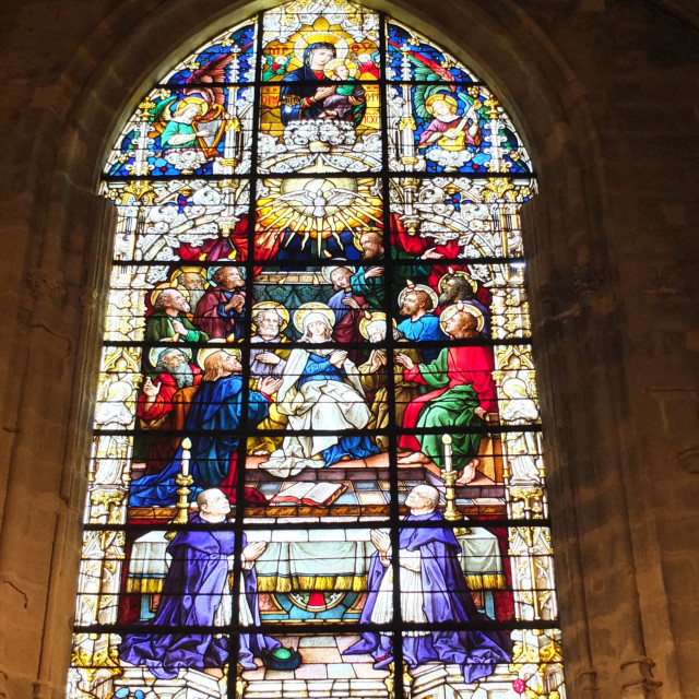 """""""Stained Glass of Sevilla Cathedral's Windows"""" stock image"""