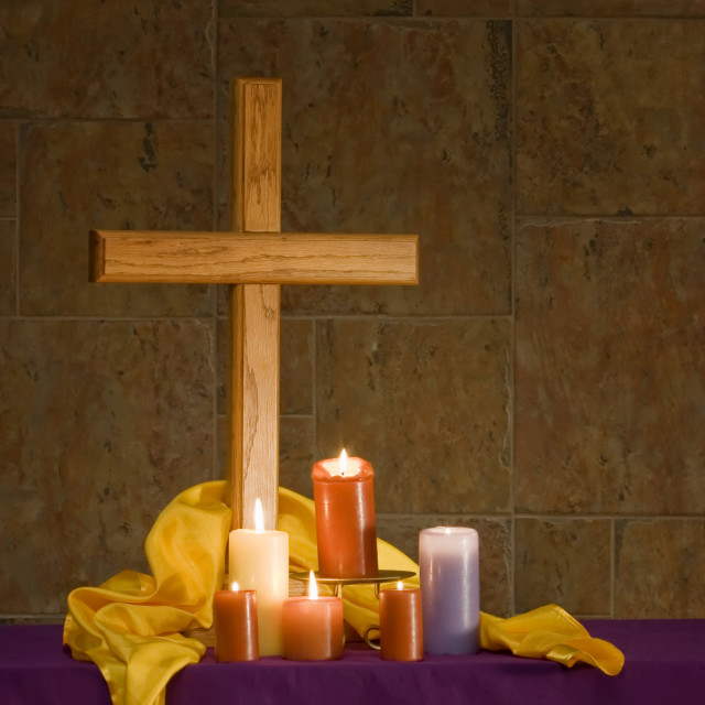 """""""Christian alter with cross and candles"""" stock image"""
