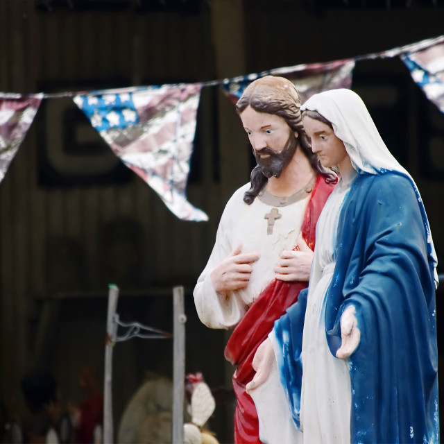 """""""Kitsch statues of Jesus and Mary"""" stock image"""