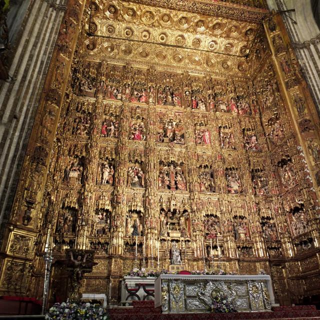 """Pierre Dancart's Golden Altarpiece, Sevilla Cathedral"" stock image"
