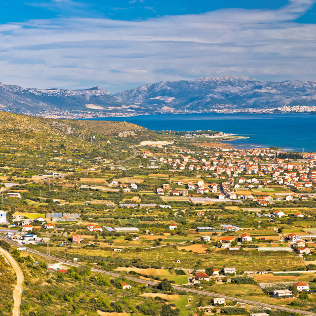 """Kastela bay and Biokovo mountain view"" stock image"