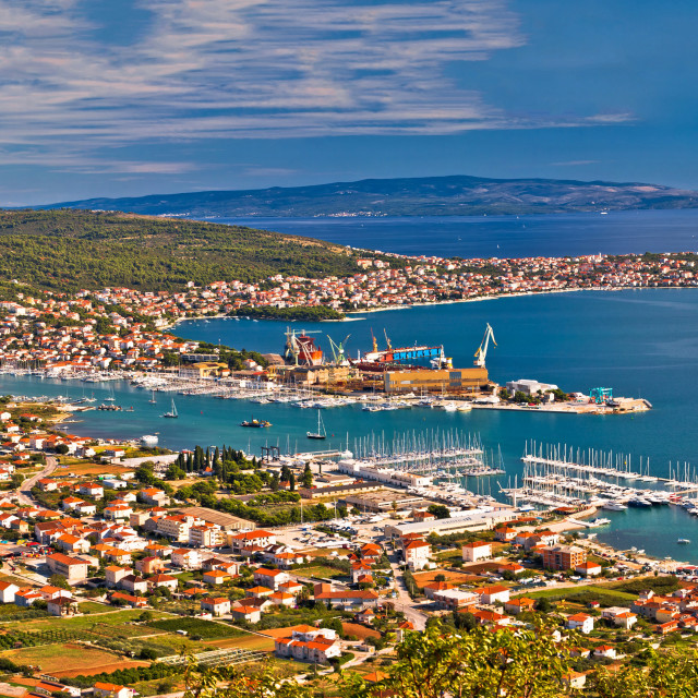 """Trogir shipyard and Ciovo island aerial view"" stock image"