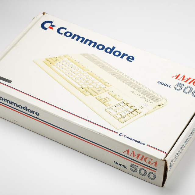 """Box of Commodore Amiga computer from the 1980s"" stock image"