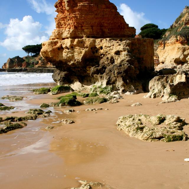 """Beach and rocks, Albufeira"" stock image"