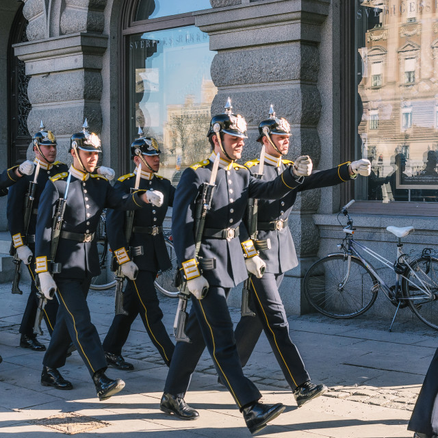 """Guards marching through Gamla Stan - center of Stockholm."" stock image"
