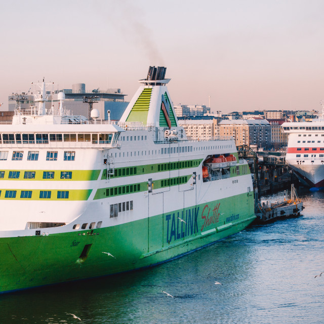 """Ferries in passenger port Lansiterminaali in Helsinki"" stock image"