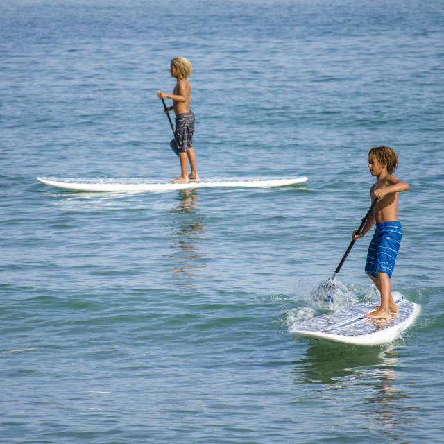 """""""Two young boys paddle boarding, Paddleboarding,"""" stock image"""